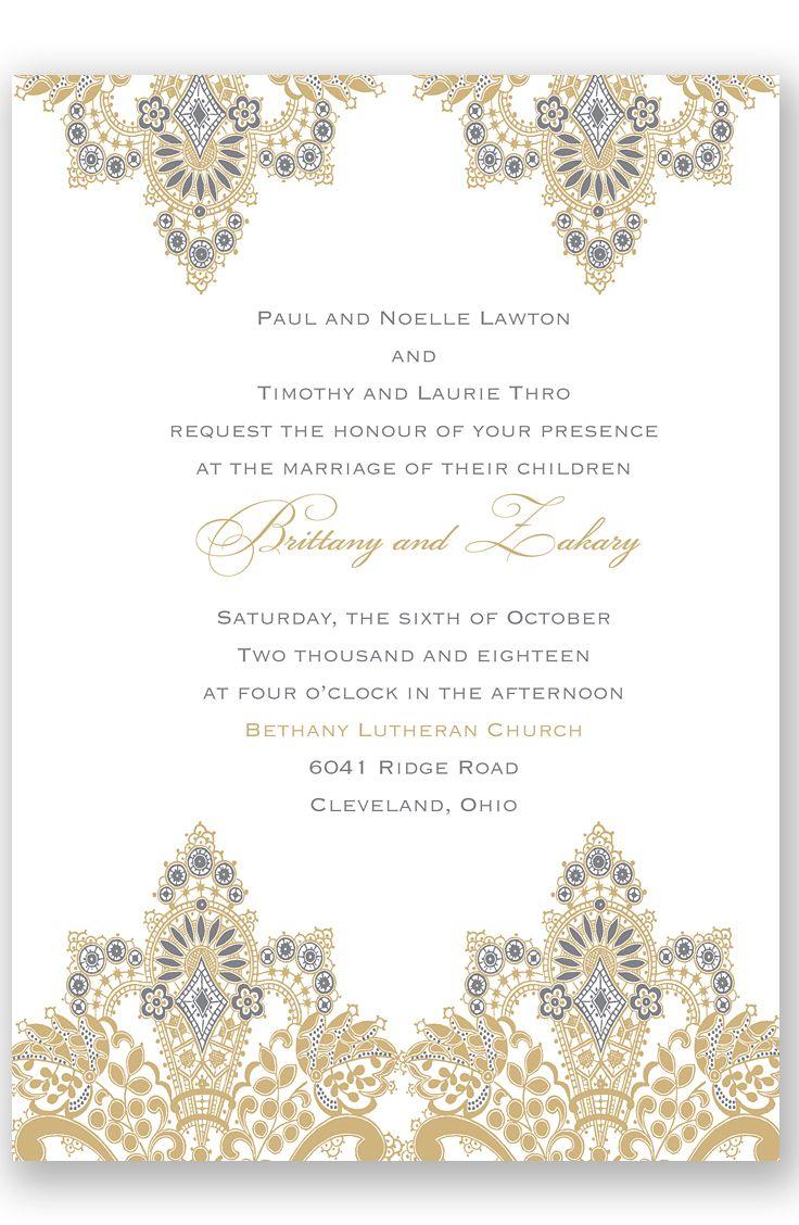 Antique Lace Letterpress Wedding Invitation By Davids Bridal