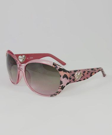 GUESS Pink & Black Leopard Oval Sunglasses Oval ...
