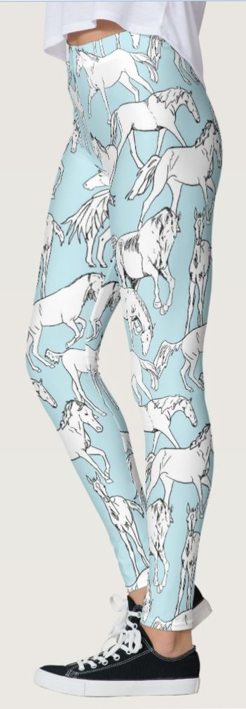 HORSE LEGGINGS - so cute! love the teal blue and white color of these equestrian themed legging pants perfect for any horse lover. The horses printed all over them are so stylish too.