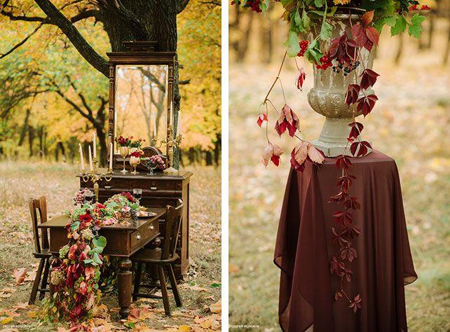 Винтажный шик, роскошная осенняя свадьба в лесу, раннер из осенних листьев, композиция из листьев в вазе