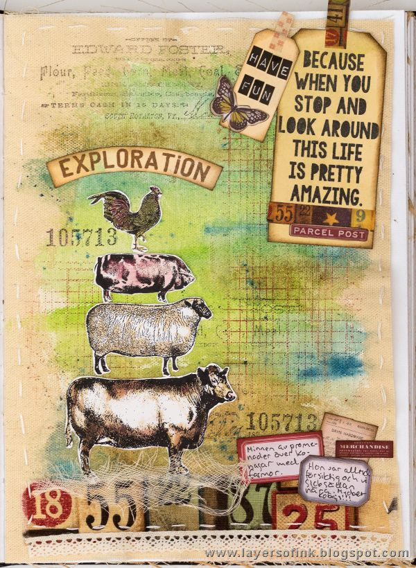 Layers of ink - Exploration Journal Page by Anna-Karin. Made for the Simon Says Stamp Monday Challenge blog, using On the Farm stamps by Tim Holtz and Stamper's Anonymous. The page was done in Ranger Dina Wakley's Media Journal and colored with Scribble Sticks. Dies by Sizzix.