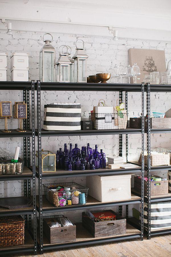 Home Depot shelves for studio - Karson Butler Events, Photo by Jodi Miller Photography