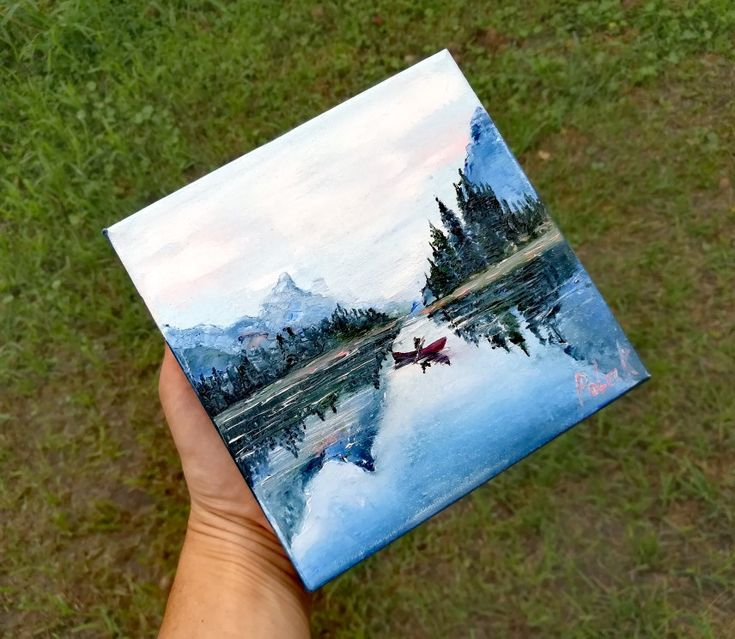 6′ Mountain lake painting miniature landscape on canvas. Early fishing on a mountain lake. Small painting original. Dad fisherman present