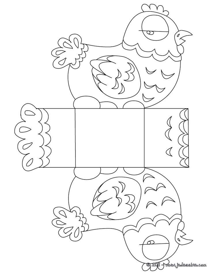 Coloriage : Boîte Pâques poule à colorier et à découper