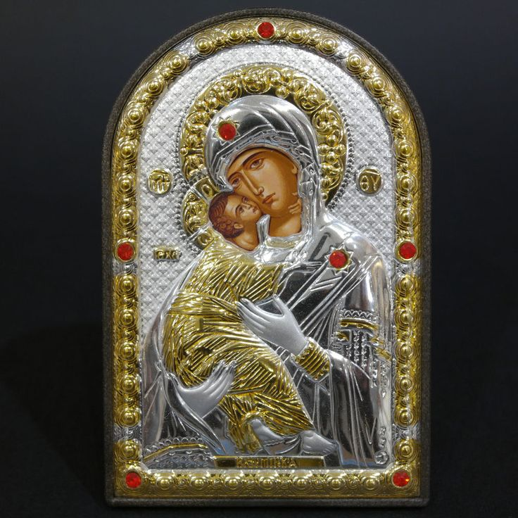 Orthodox Silver 925 Icon Greek Handmade Byzantine Virgin Mary Vladimir 8x12cm