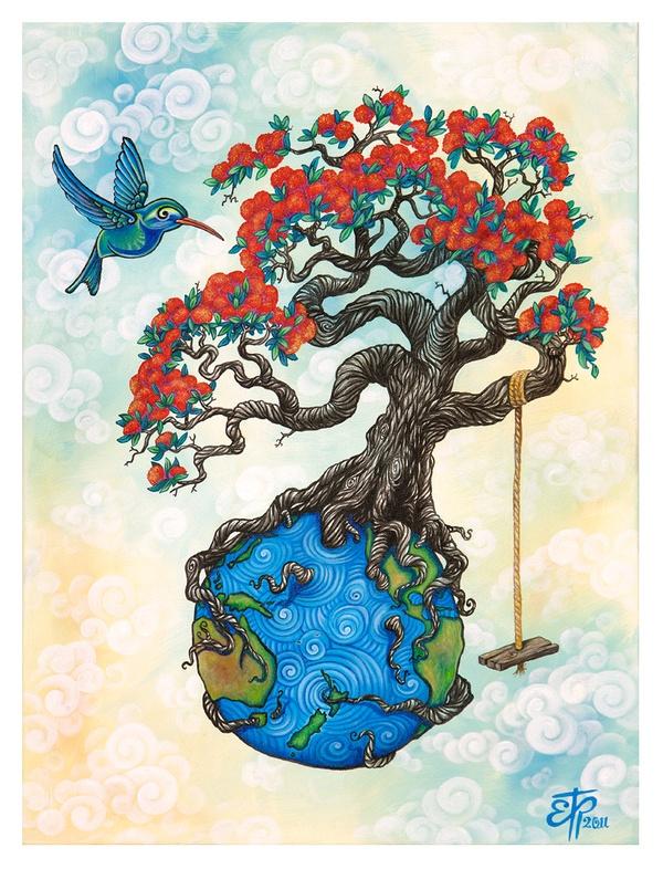 Pohutukawa Globe by Erika Pearce, via Behance