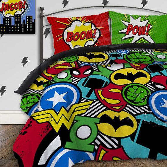 Boys Duvet Cover Superhero Bedding Set Kids Comforter Twin Xl