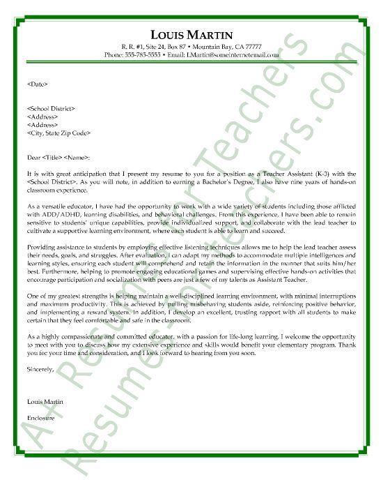 Teachers Aide Cover Letter