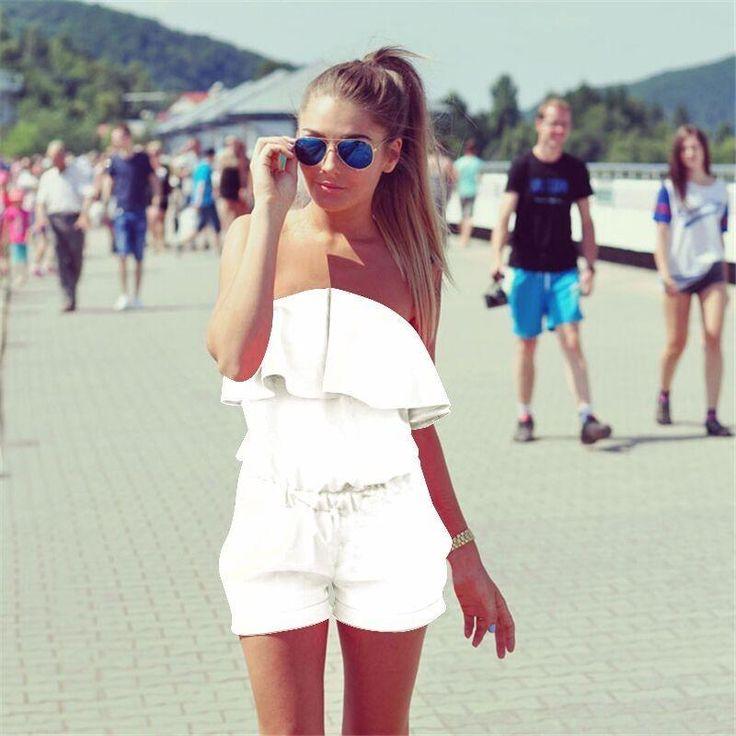Summer New Women's Fashion Ruffles Slim Rompers Female Sexy Off Shoulder Strapless Slash Neck Jumpsuits