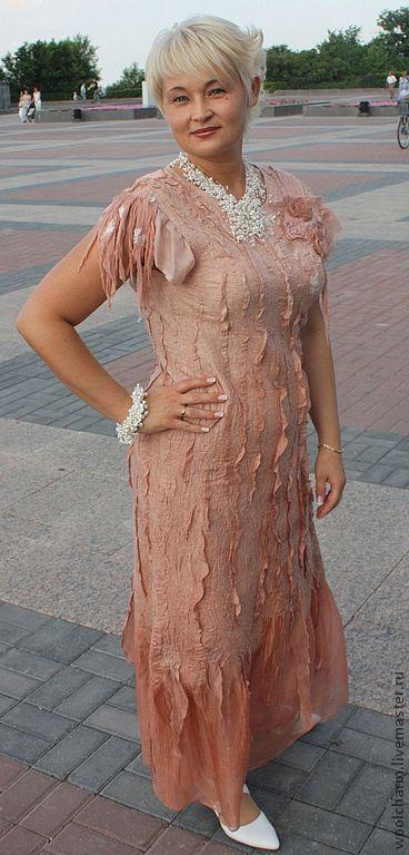 Купить Платье валяное Розовый жемчуг - кремовый, розовый, розовый жемчуг, валяное платье