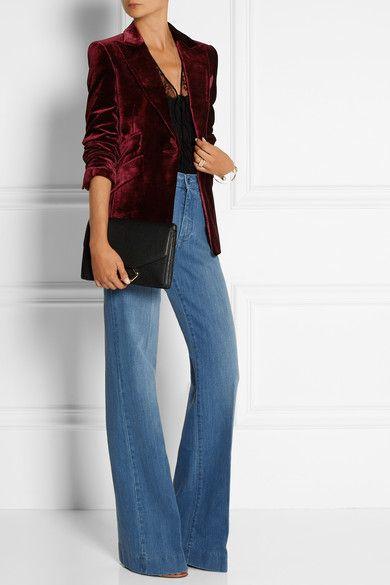 Merlot velvet Button fastening at front 82% viscose, 18% silk; lining: 100% viscose Dry clean Designer color: Burgundy