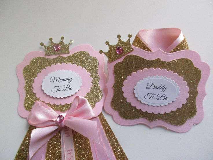 Pink and Gold Princess Mommy/DaddyTo Be Corsage,Baby Girl Corsage,Mommy To Be Baby Shower Corsage, Baby Shower Corsage, Baby Shower Badge, by SHELOVESGLITZ on Etsy