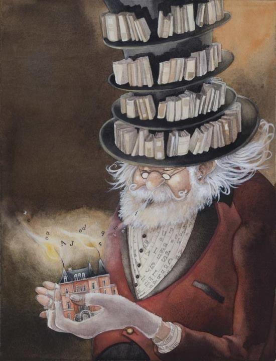 bibliolectors:  Librarian, guardian of the words / Bibliotecario, guardian de las palabras (ilustración de Christelle le Guen)