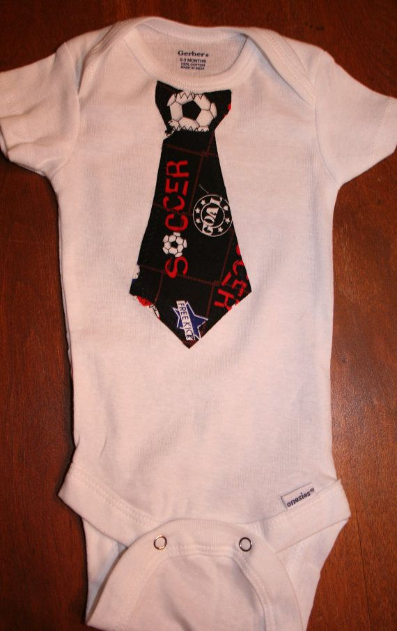 Baby boy soccer tie onesie he will get a kick out of. by hkgmom, $11.00