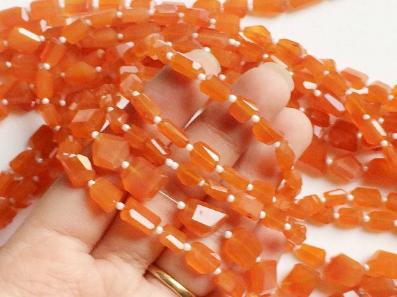 Carnelian Step Cut Faceted Tumbles Orange by gemsforjewels on Etsy