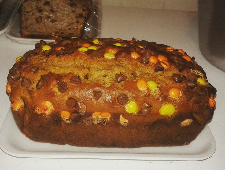 Reese Pieces Peanut Butter Banana Bread