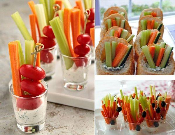 palitos legumes: Cenouras, talos de salsão, palmito, pepino tipo japonês, ramos de aipo, pimentão vermelho e amarelo.