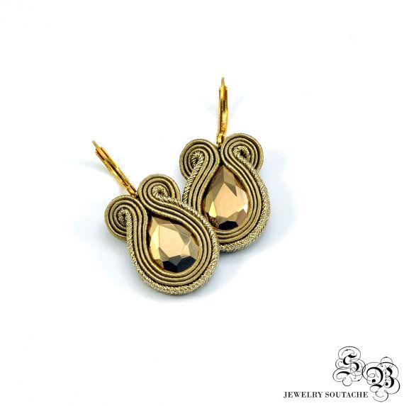 Orecchini Soutache piccoli in oro, oro Orecchini Soutache, oro penzolare orecchini, orecchini piccoli, piccoli orecchini, orecchini d