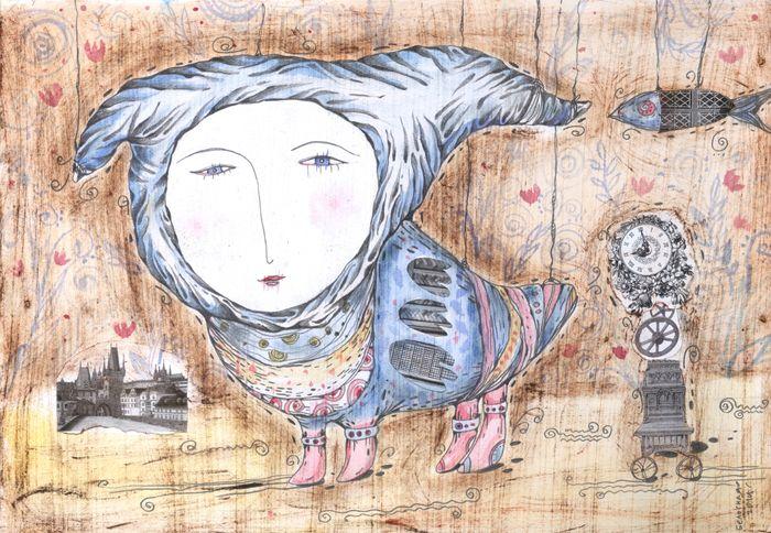 Сообщество иллюстраторов | Иллюстрация Птица с васильковыми глазами.
