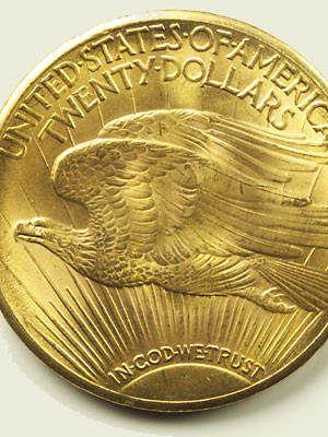 """Moedas - Existem muitos tipos de moedas raras, como as gregas usadas para pagar o """"barqueiro"""" quando morria alguém na grécia antiga. Mas a moeda mais rara que se conhece é uma moeda única de vinte dólares chamada double eagle, que foi vendida a um colecionador por 7,9 milhões de dólares."""