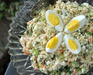 "cauliflower ""potatoe"" salad. Great choice for low carb dieters"