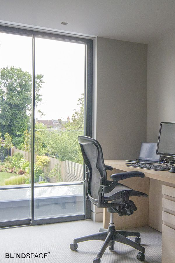 Home Office With Recessed Roller Shades To Control Screen Glare