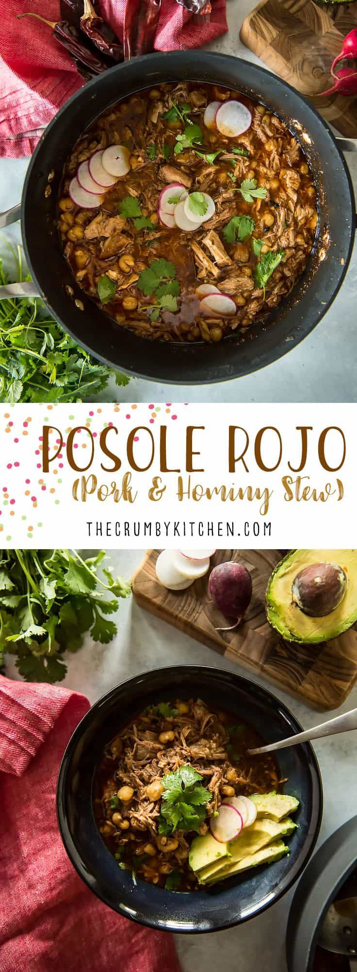 Stay warm this winter with a big bowl of Posole Rojo! This traditional hearty chile, pork, and hominy stew takes some time on the stovetop, but the deliciously spicy results are totally worth the wait! #posolerojo #posole #recipes #pozole #recipe #pork #stew #spicy #chiles #hominy #comfortfood