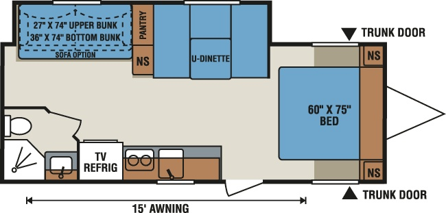 too heavy? great 3 person bunk space, sleeps 6 (+?), counter  E243S