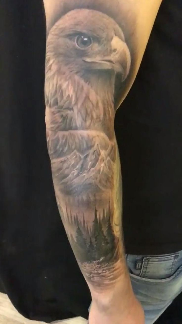 Nature and hawk tattoo done by Miguel from Attitude Tattoo in Oslo Norway