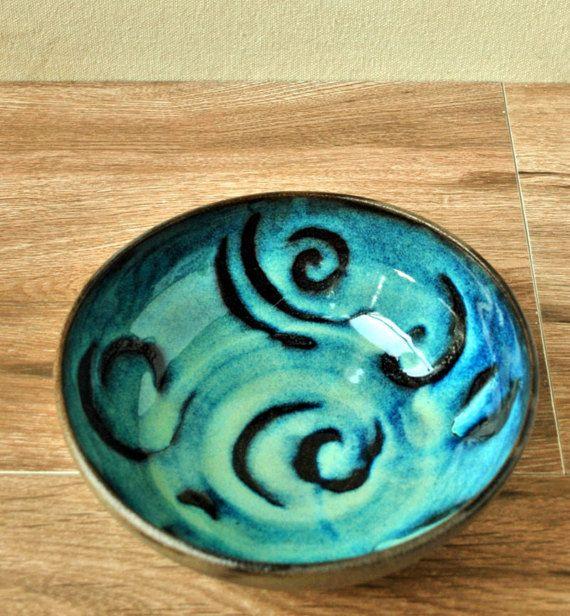 Turquoise Ceramic Bowl Decorative  bowl Personal Soup Bowl