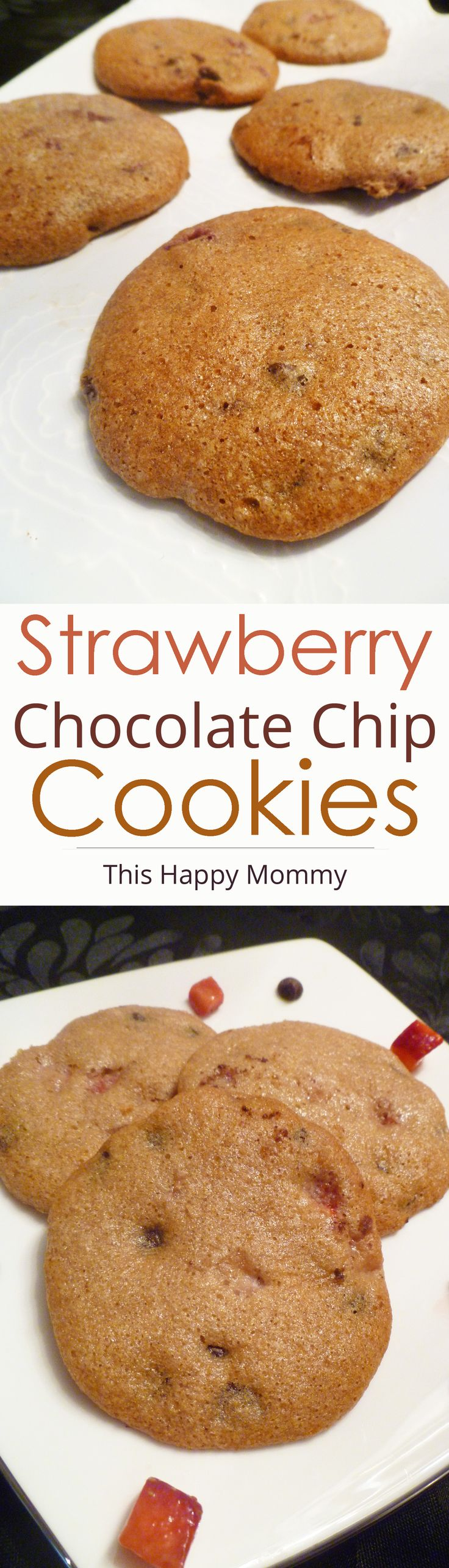 Strawberry Chocolate Chip Cookies -- Soft-baked, vanilla flavored cookies loaded with strawberries and chocolate chips. #lowfat #dessert | thishappymommy.com