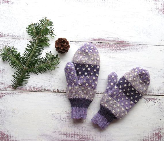 Purple Stripes Thrum Mittens Hand Knit Wool Mittens with White Thrums Adult Small on Etsy, $37.00 CAD