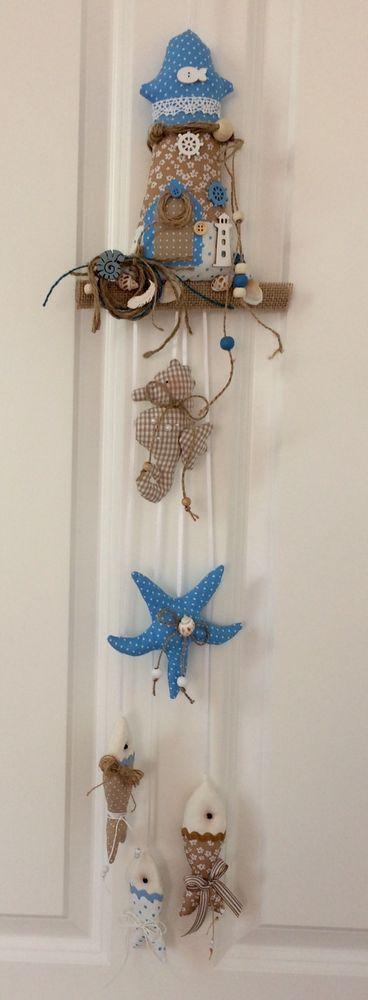 Girlande Blau/beige Fische Seestern Maritim.Tilda.Landhaus.Bad Deko
