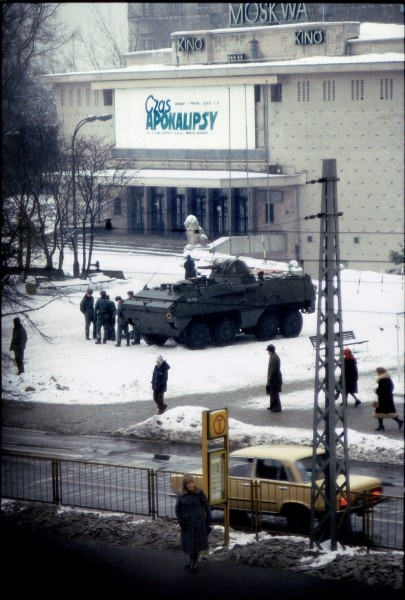 "1981 - One of the most symbolic picture of Martial Law in Poland. Soldiers are staying in front of the Moscow cinema. The irony is that there is a poster of ""Apocalypse Now"" , what generally reflect the situation in Poland ."