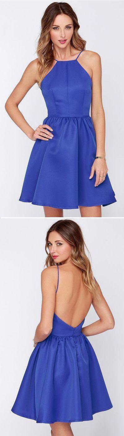 Royal Blue Backless Dress,Sexy Homecoming Dress,141