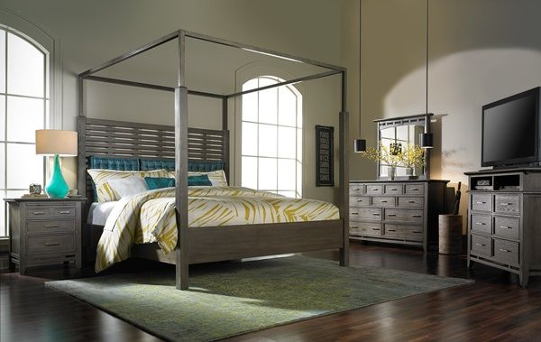 Weathered Gray King Bedroom Set : Soho king canopy bed handcrafted with a solid hardwood