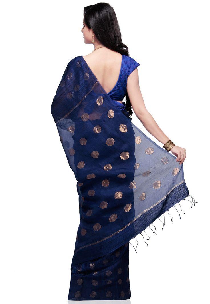 Dark Blue Pure Matka Silk Bengal Handloom Saree with Blouse: SABA13