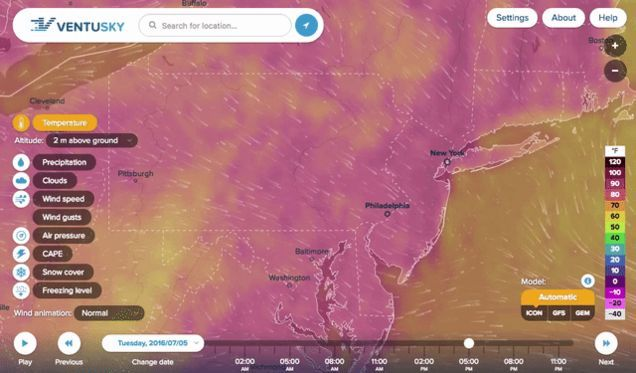 There's no shortage of weather sites and webapps around the web that will show you weather conditions now or predicted ones in the future, but Ventusky is brand new, looks great, and shows you current conditions on a live, always-updating map that you can drag around, click on, or just search to explore.