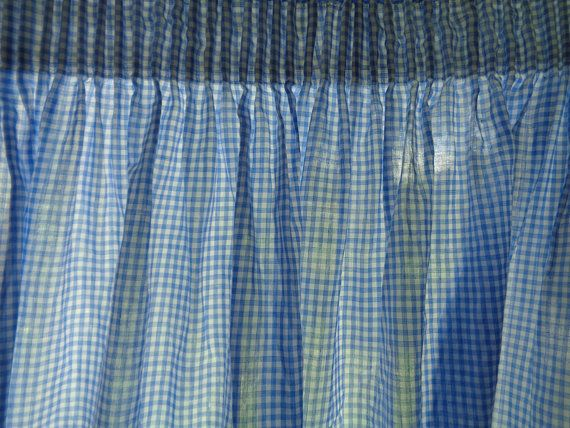 Vintage Curtain Panel H53 Xw89 Light Blue White Tiny Gingham