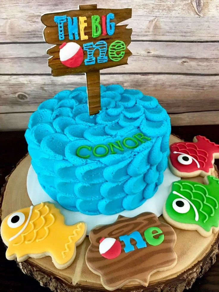 The Big One! First Birthday for boy Little Fisherman theme