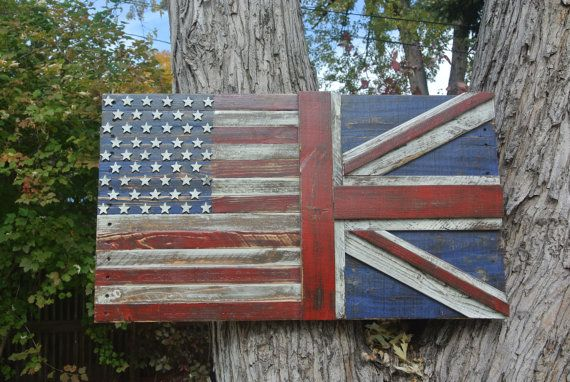 3D Distressed US/Union Jack Hybrid Flag, british flag, US flag, red white & blue, wall art, home decor, reclaimed wood by CraigMoodieDesigns