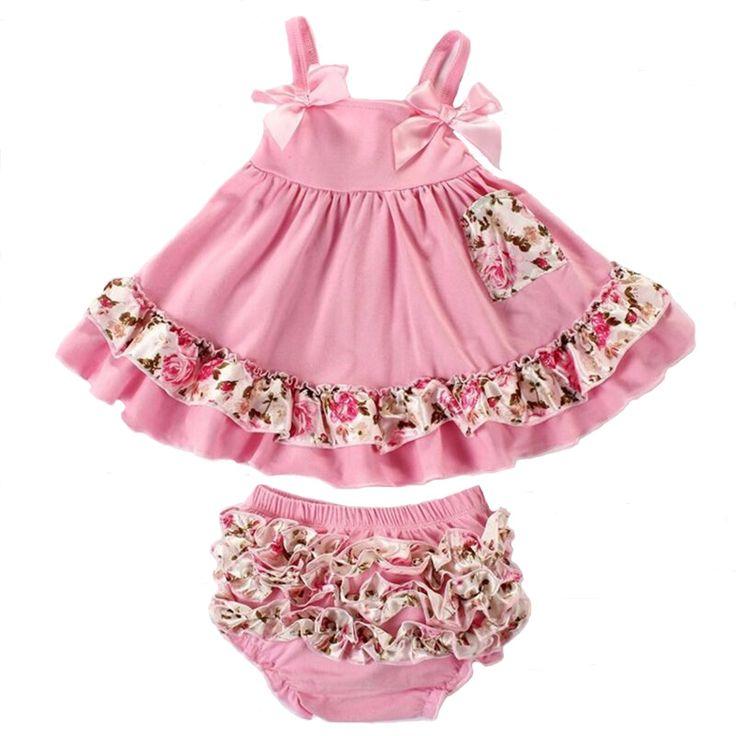 2pcs/set Baby Clothing Set Summer Fashion Flower Newborn Baby Girl Clothes 0-24M Baby Girl Set Bow Sling T-shirt+Ruffles Pants