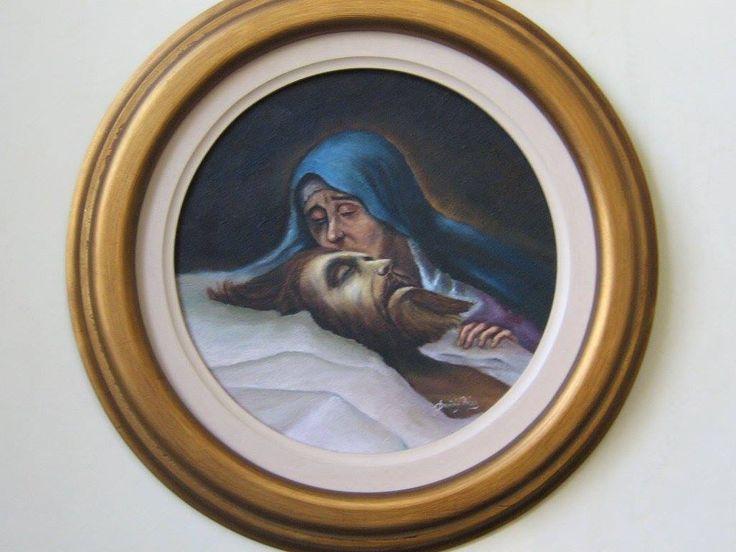 """""""El dolor de María"""" (Mary's pain). 2003. Radius 15cm. Oil on canvas by David Florez."""