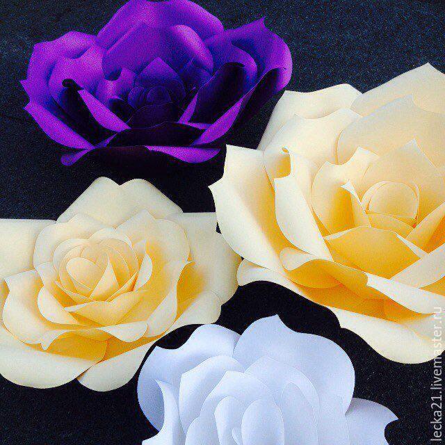 Купить или заказать бумажные цветы (роза2) в интернет-магазине на Ярмарке Мастеров. Оригинальное решение для декора вашей свадьбы, фотосессии, витрины магазина, фотозоны на празднике, оформлении зеркала, фотозона в студии макияжа. Чем отличается эта роза от розы номер 1 в моем магазине? Тем что ее лепестки с острыми кончиками. Ну совсем как живая! бумажный цветок Роза, выполнен из дизайнерской бумаги от 200 до 350 г/м2 . Размеры от 10 см до 100 см У розы плоское основание что…