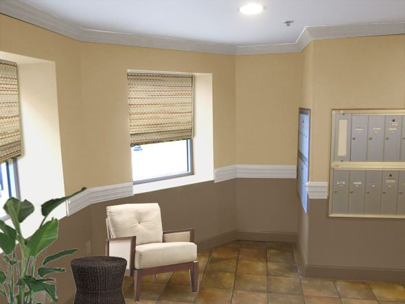 Image result for two tone mauve wall with chair rail