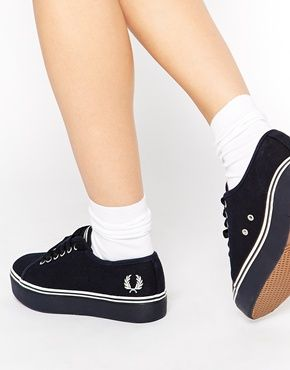 Fred Perry Phoenix Flatform Navy Canvas Trainers