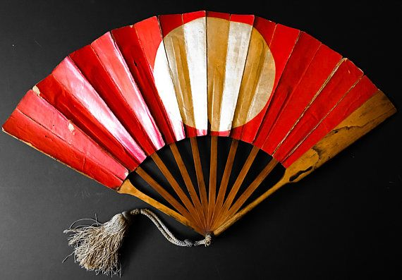Antique Japanese War Fan -Gunsen- Lacquerware, EDO Period 18th/19th Century  Japanese Ancient Warrior.    This is a very rare prime object of Japanese military collectibles. The traditional folding fan, an insignia of the owner's rank, is decorated with the design of a sun in red on a golden background and the moon on the reverse. Bold and simple, this fan would have been visible from some distance. It was used by Samurai and court Officers as a military signaling devices and primarily used…
