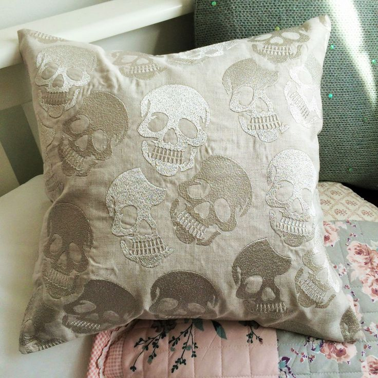 Skull Print Grey Silver Rock and Roll Shabby Chic Cushion