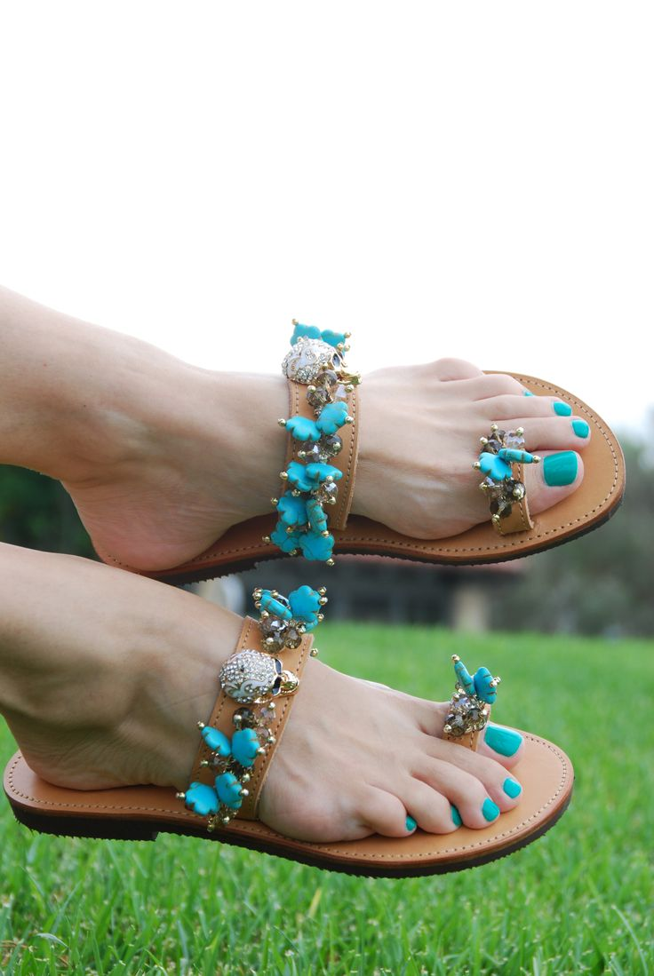 Intrico Blue Sandal! Turquoise daisies with shiny skulls! BonbonSandals