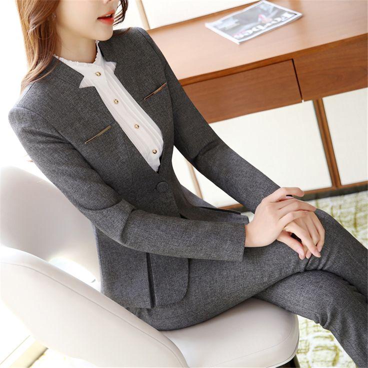 Womens formal suits Workwear office uniform designs women office suits blazers feminino spa uniform elegant business pant suits
